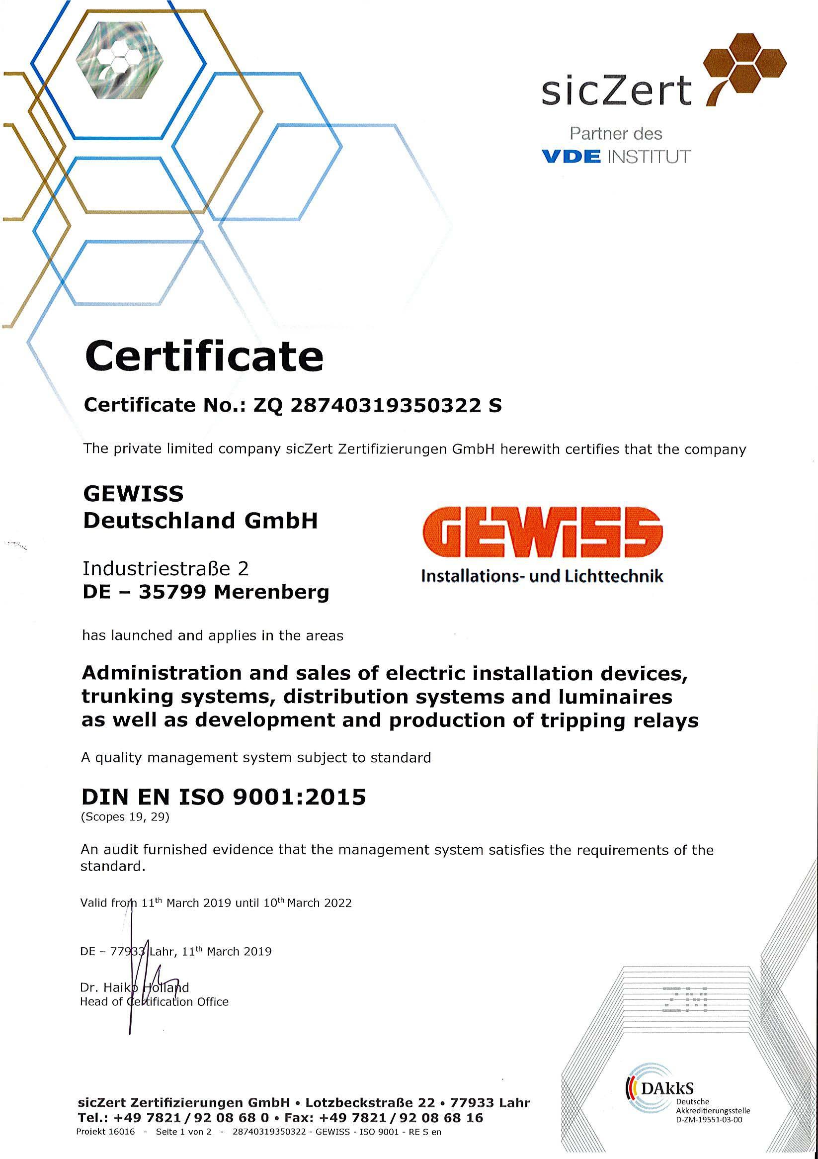 درباره ما GEWISS DE EN ISO9001 1