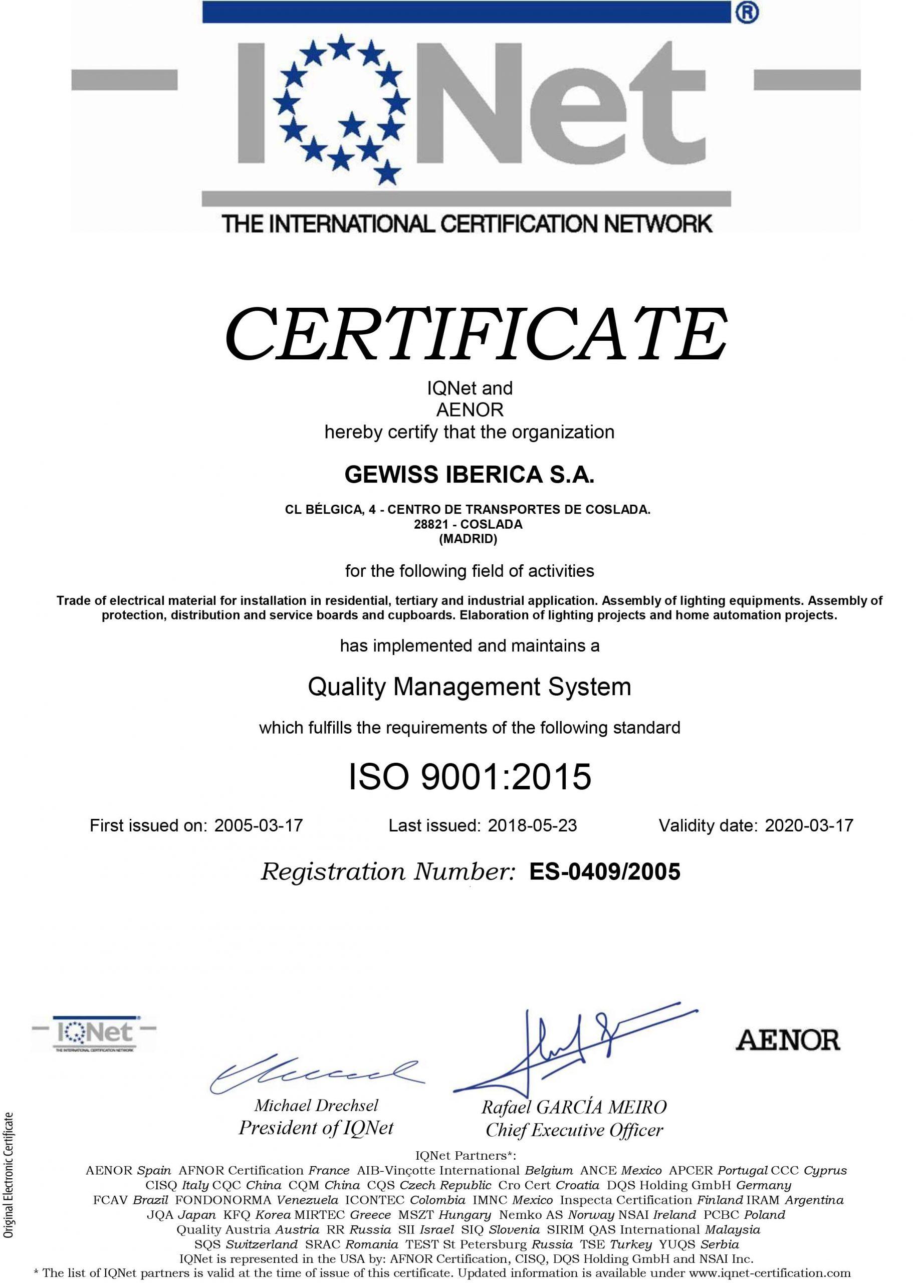 درباره ما GEWISS ES ISO9001 2 scaled