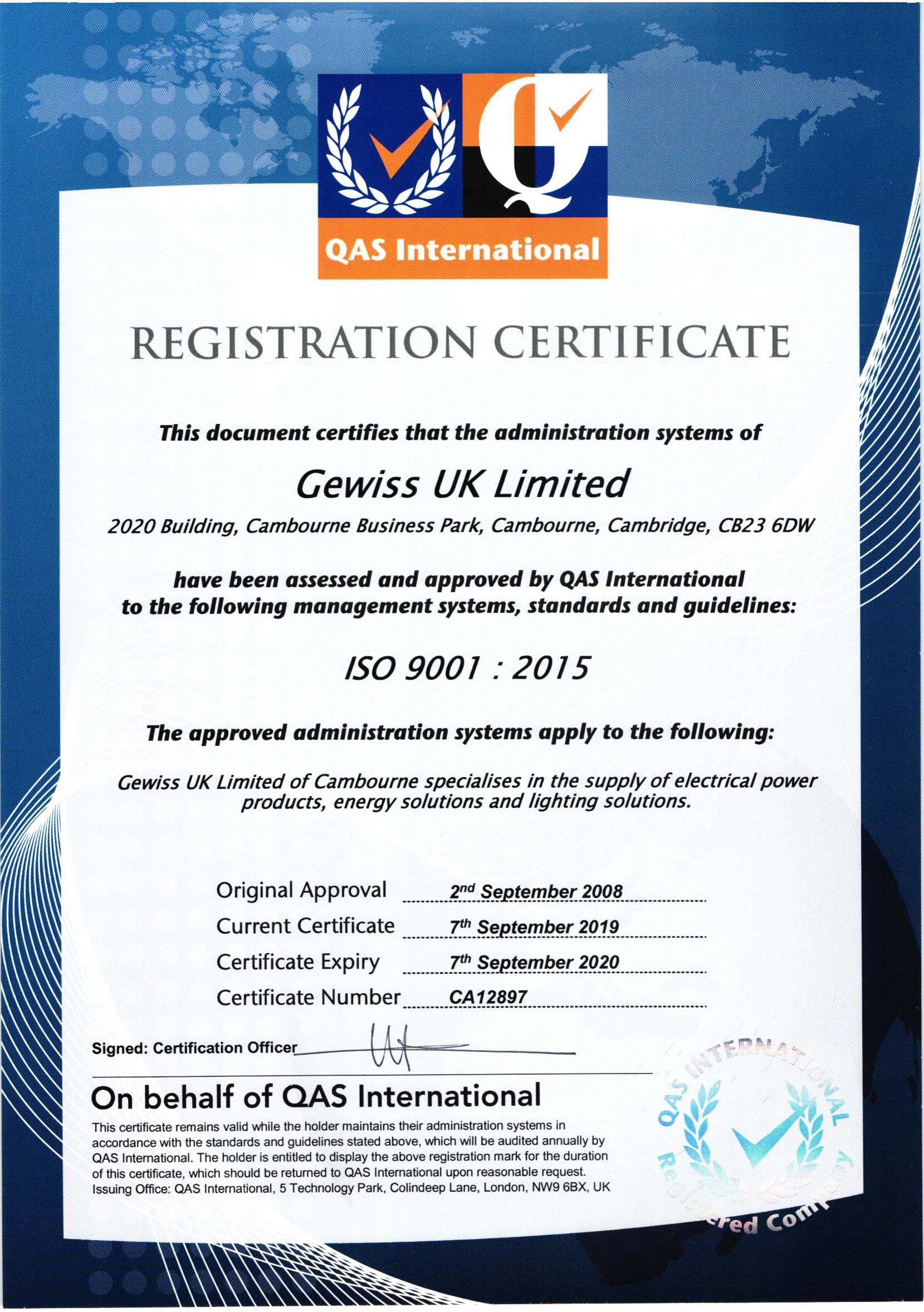 درباره ما GEWISS UK ISO9001 1